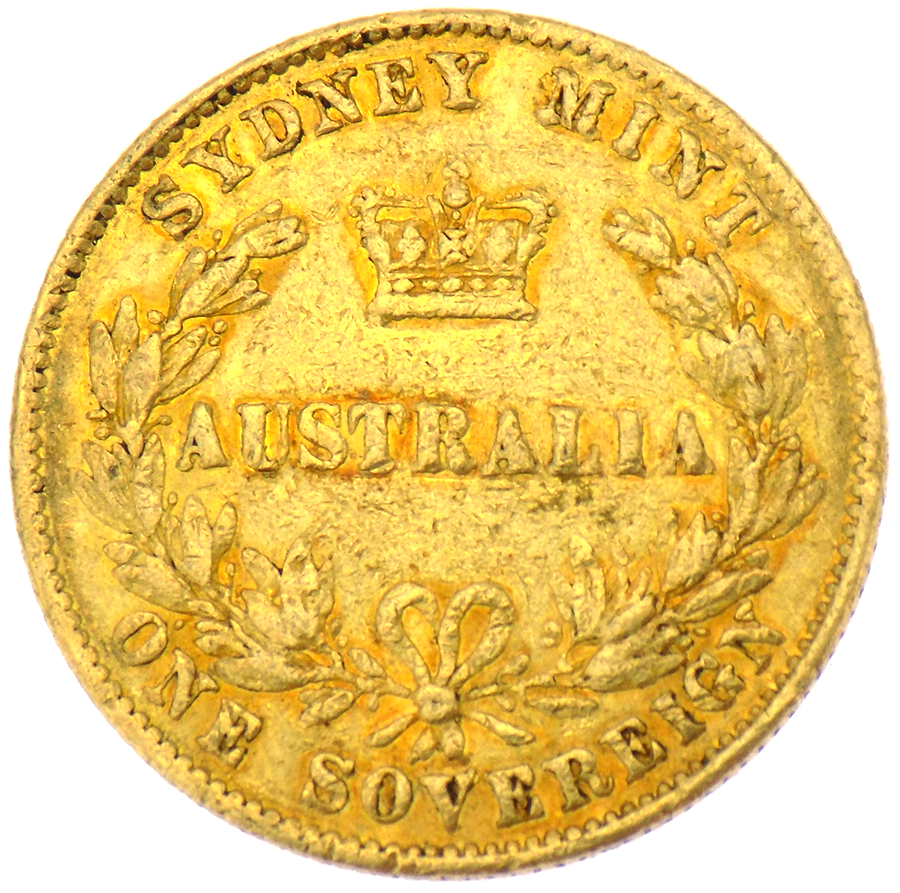 Pre-owned 1863 Australian Mint Full Sovereign Gold Coin