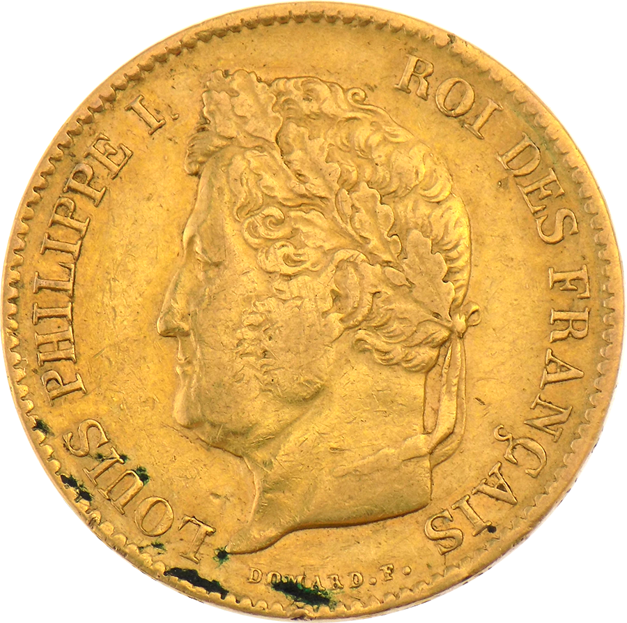 Pre-Owned 1834 French 40 Franc Louis Philippe Gold Coin