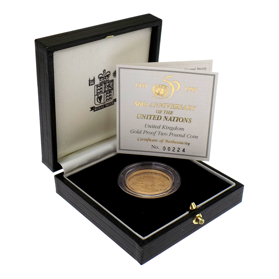 Pre-Owned 1945 - 1995 50th Anniversary of the United Nations Proof £2 Gold Coin