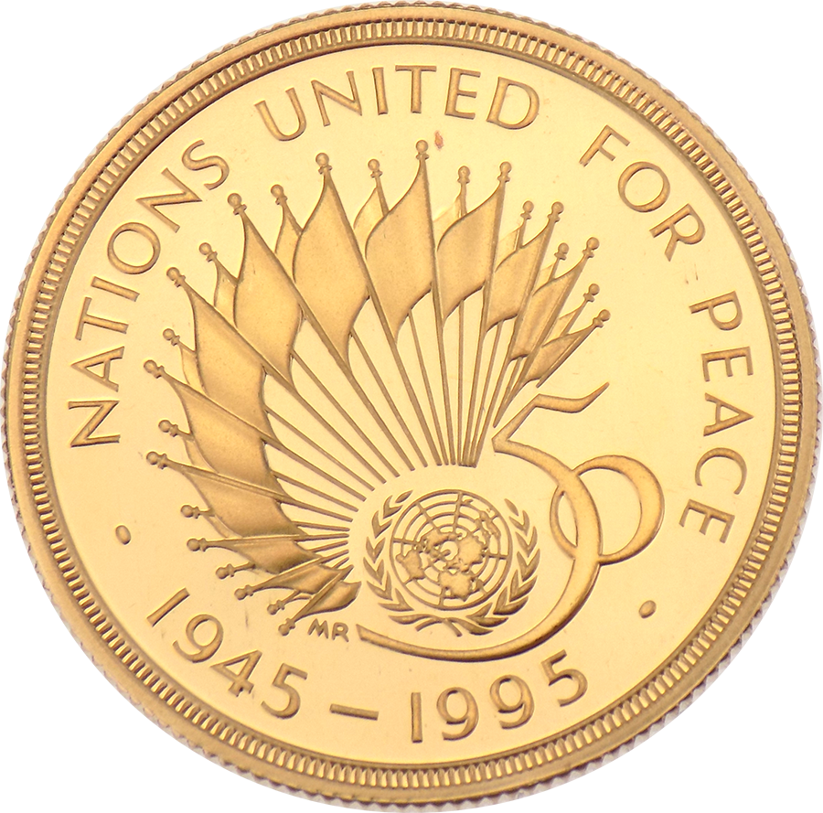 Pre-Owned 1945 - 1995 50th Anniversary of the United Nations Proof £2 Gold Coin (Image 2)