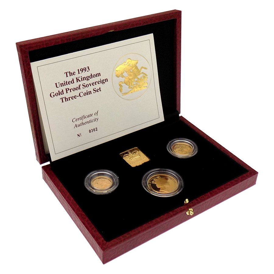 Pre-Owned 1993 UK Proof Sovereign Gold 3 Coin Collection