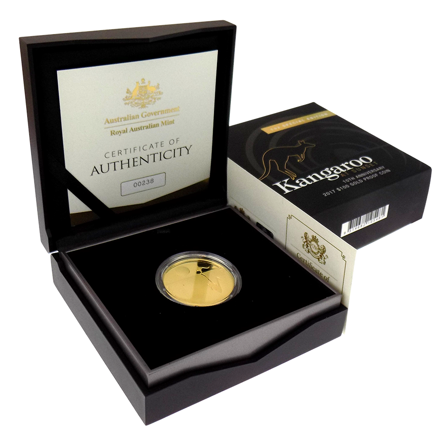 Pre-Owned 2017 Royal Australian Mint Kangaroo At Sunset 10th Anniversary 1oz Gold Proof Coin