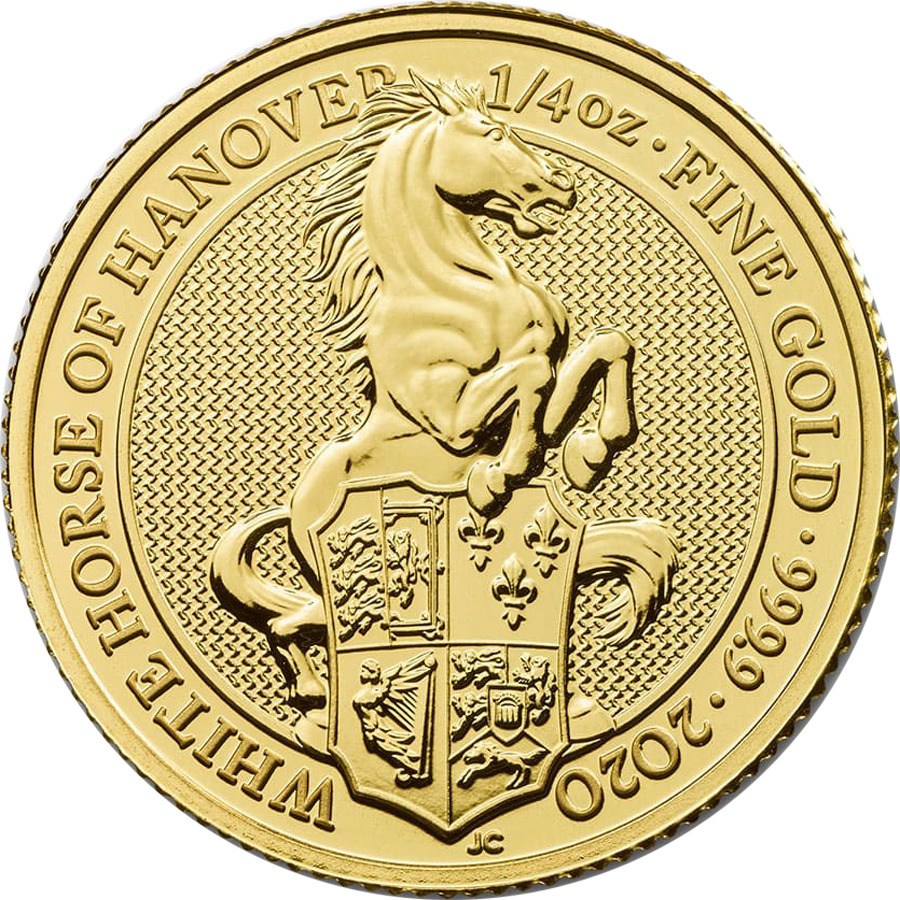 2020 UK Queen's Beasts The White Horse of Hanover 1/4oz Gold Coin