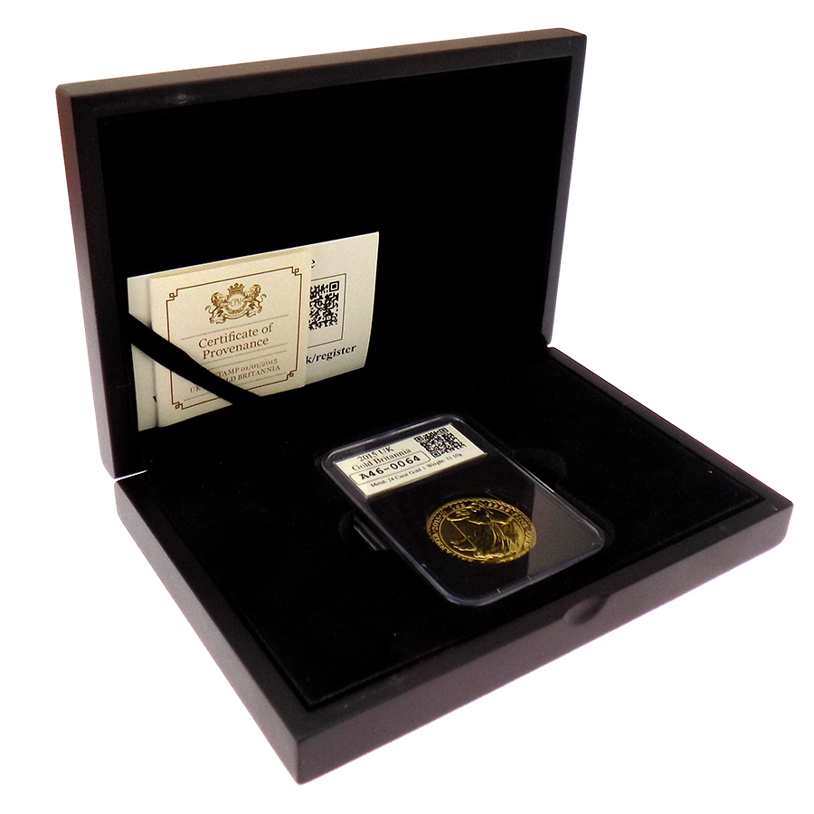 Pre-Owned 2015 UK Britannia 1oz Slabbed Gold Coin - Boxed