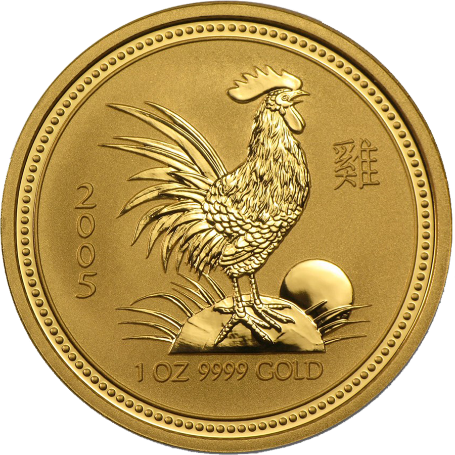 Pre-Owned 2005 Australian Lunar Rooster 1oz Gold Coin