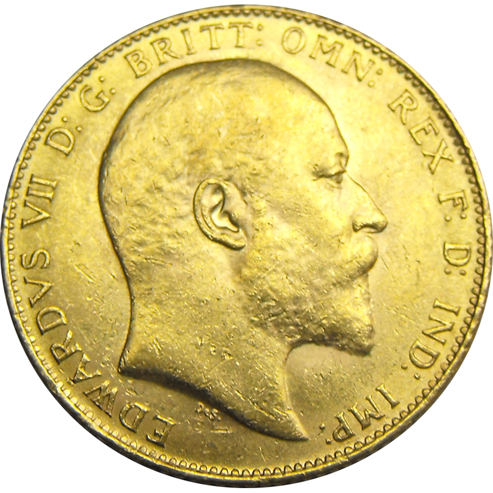 Pre-Owned UK Edward VII Full Sovereign Gold Coin - Mixed Dates (Image 1)