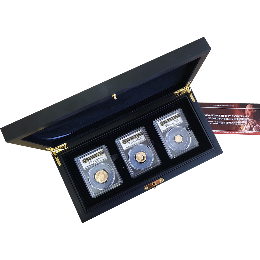 Pre-Owned 2020 Tristan da Cunha George III Heritage Gold Proof Sovereign 3-Coin Set