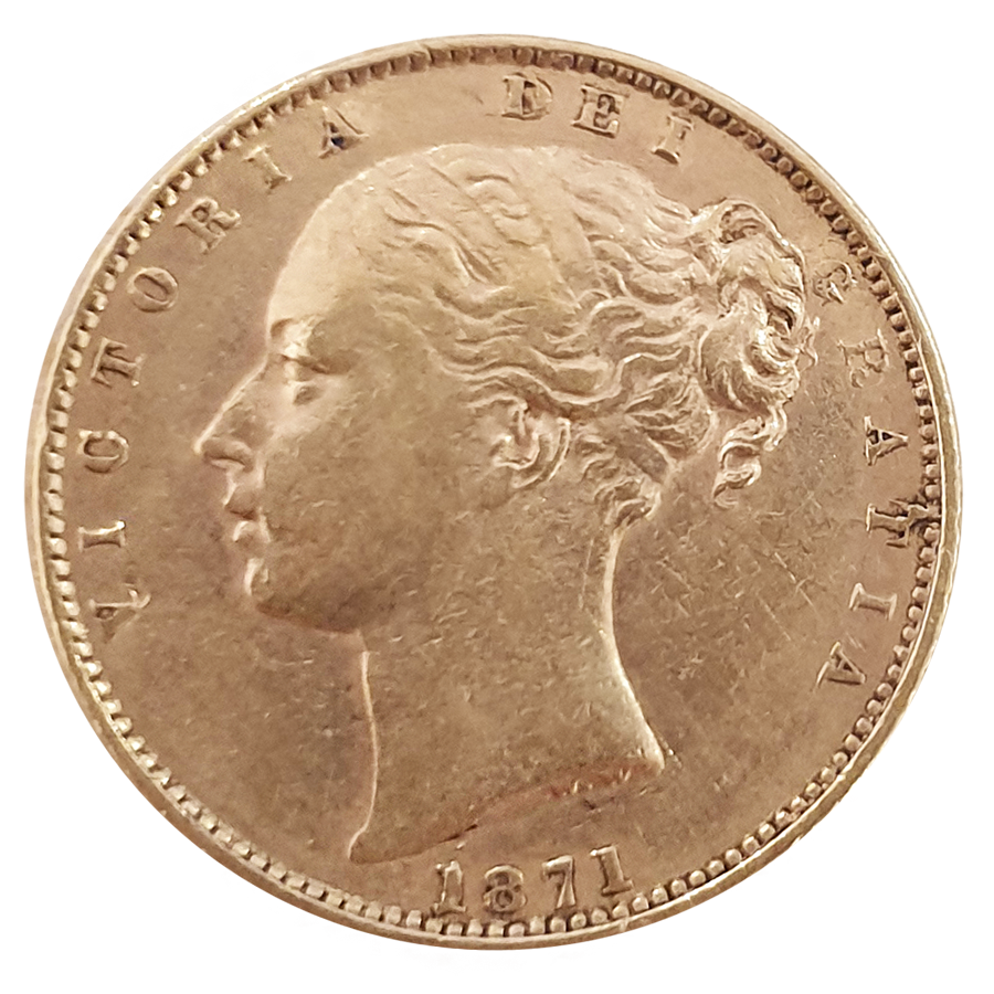 Pre-Owned 1871 London Mint DN.12 Victoria Young Head 'Shield' Full Sovereign Gold Coin