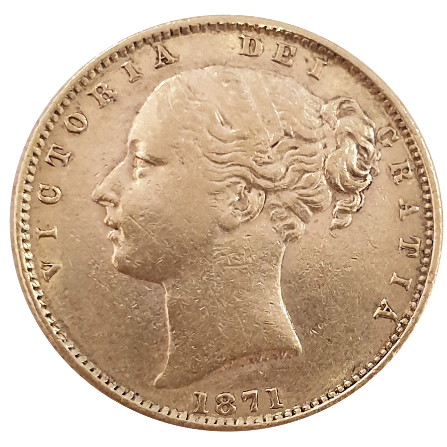 Pre-Owned 1871 London Mint DN.17 Victoria Young Head 'Shield' Full Sovereign Gold Coin