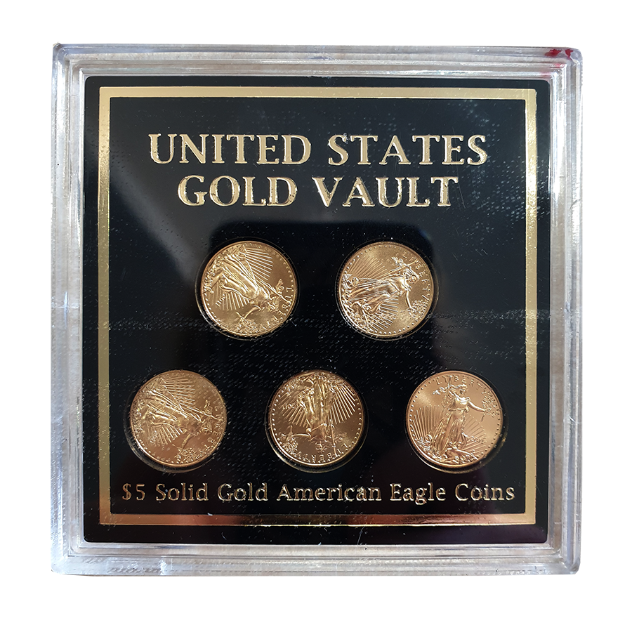 Pre-Owned 2011 USA Eagle 1/10oz Gold Coins Vault 5 Coin Collection
