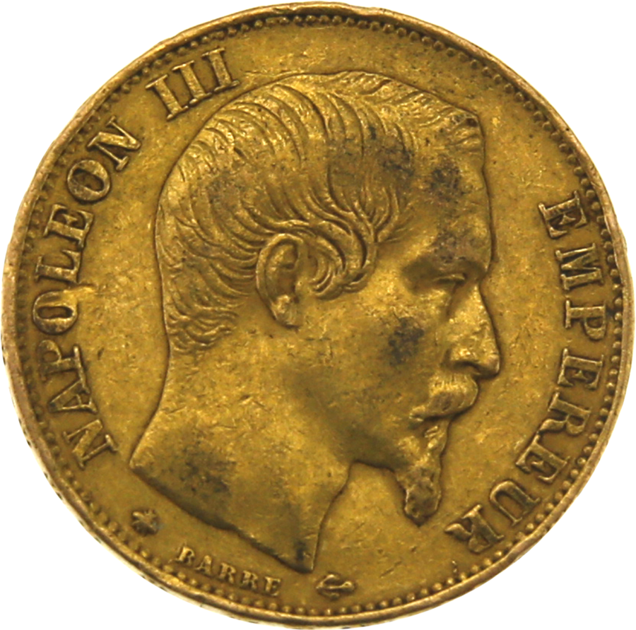 Pre-Owned 1860 French 20 Francs Napoleon III Gold Coin