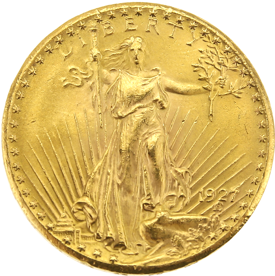 Pre-Owned 1927 USA St Gaudens Double Eagle $20 Gold Coin