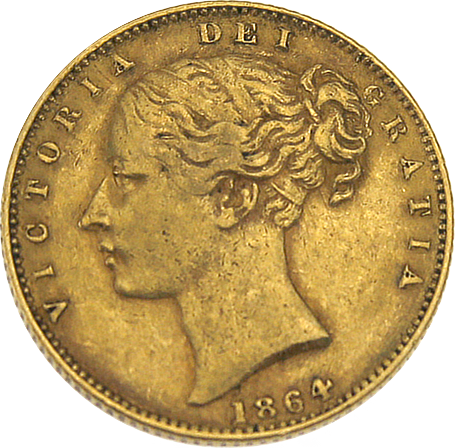Pre-Owned 1864 London Mint DN.69 Victorian 'Shield' Full Sovereign Gold Coin