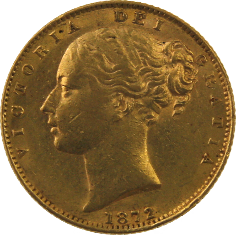 Pre-Owned 1872 London Mint DN.43 Victorian 'Shield' Full Sovereign Gold Coin