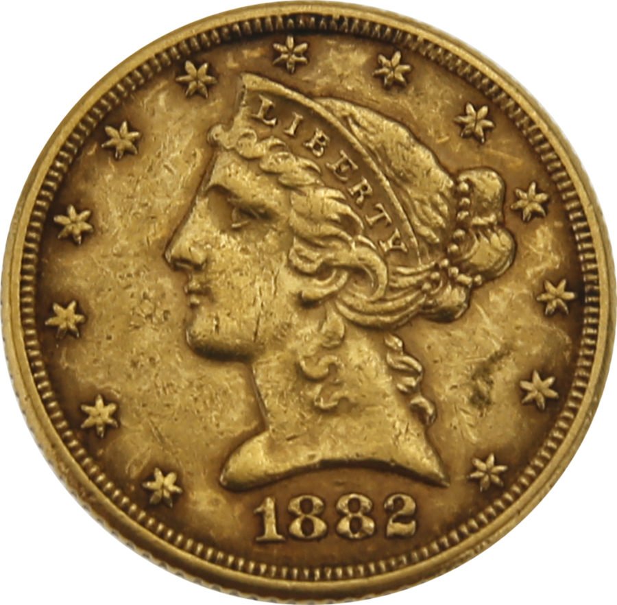 Pre-Owned 1882 USA Half Eagle $5 Gold Coin