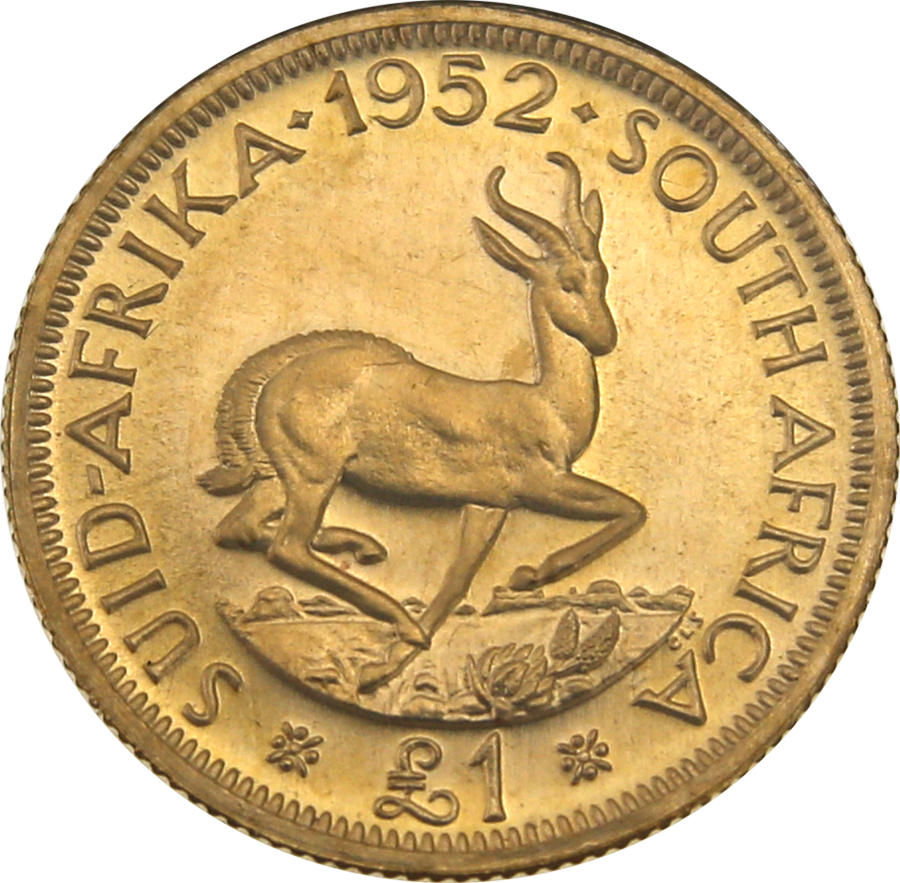Pre-Owned 1952 George VI South African £1 Gold Coin