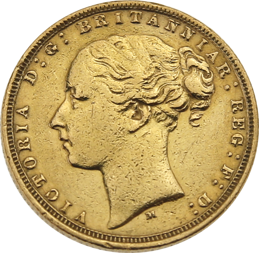 Pre-Owned 1875 Melbourne Mint Victoria 'Young Head' Full Sovereign Gold Coin