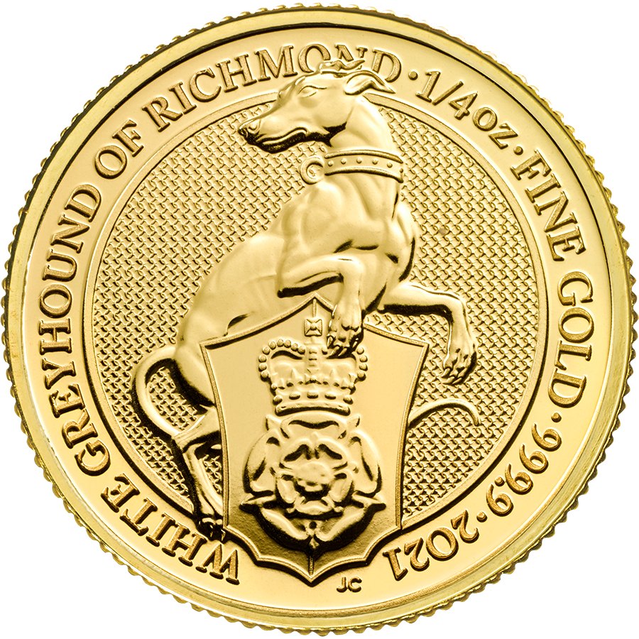 2021 UK Queen's Beasts The White Greyhound of Richmond 1/4oz Gold Coin