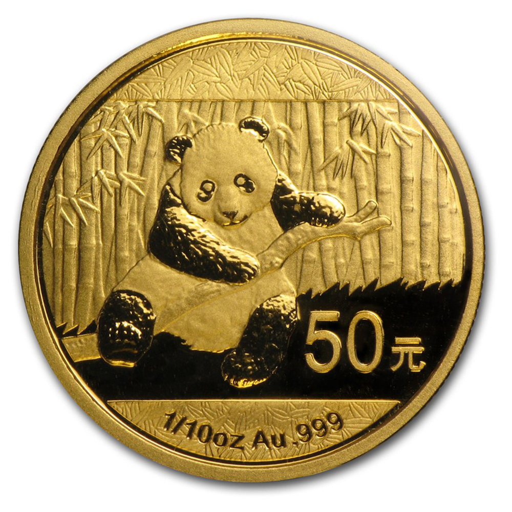 Pre-Owned 2014 Chinese Panda 1/10oz Gold Coin