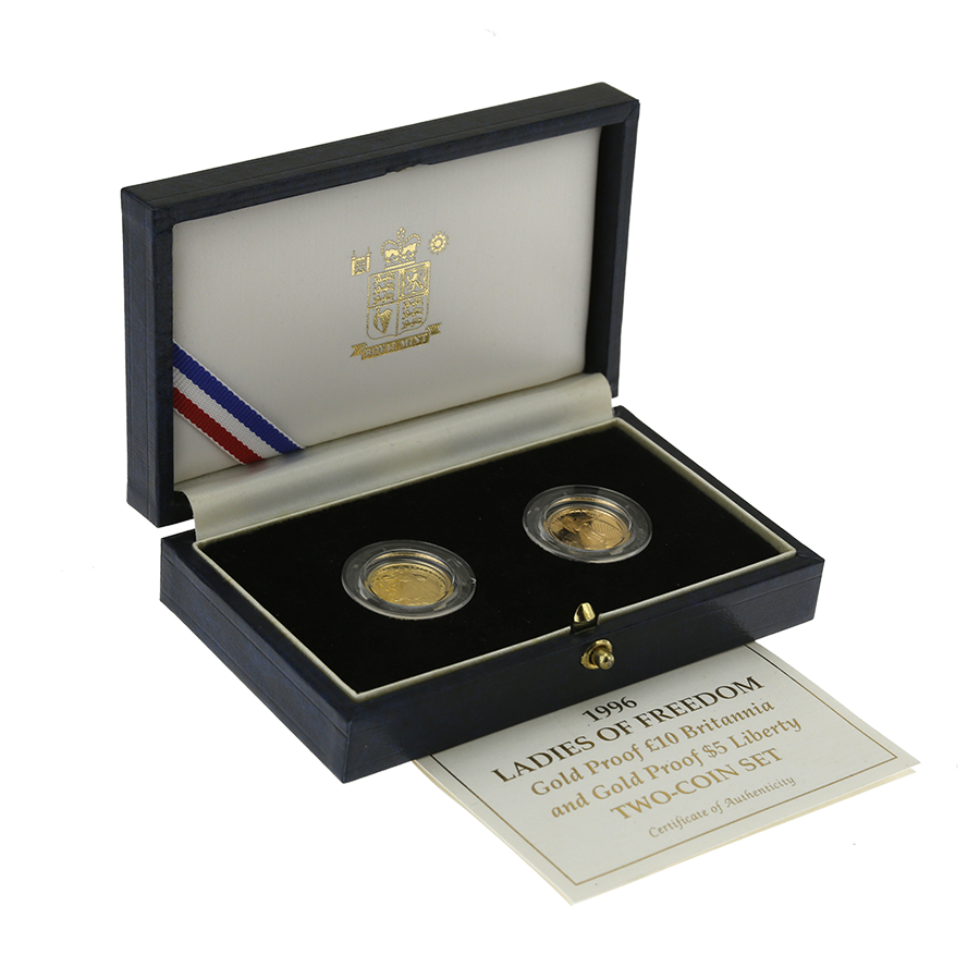 Pre-Owned 1996 Ladies of Freedom UK Britannia & USA Eagle 1/10oz Proof Gold Coin Set