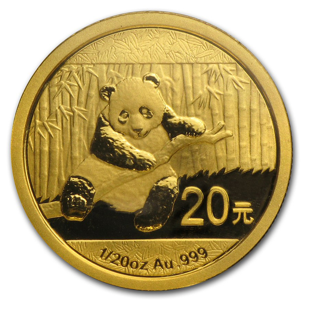 Pre-Owned 2014 Chinese Panda 1/20oz Gold Coin