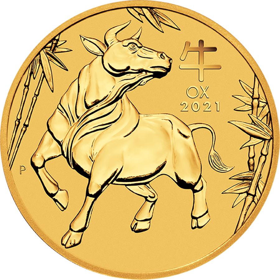 2021 Australian Lunar Ox 1/20oz Gold Coin