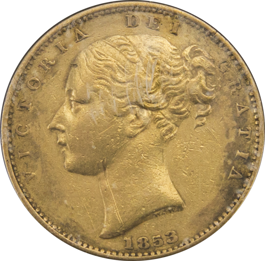Pre-Owned - 1853 London Mint Victorian 'Shield' Full Sovereign Gold Coin