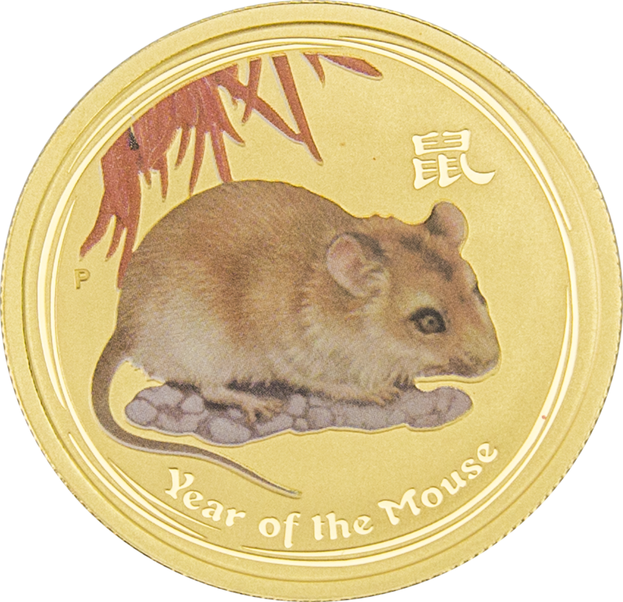Pre-Owned 2008 Australian Lunar Mouse Colourised 1/2oz Gold Coin