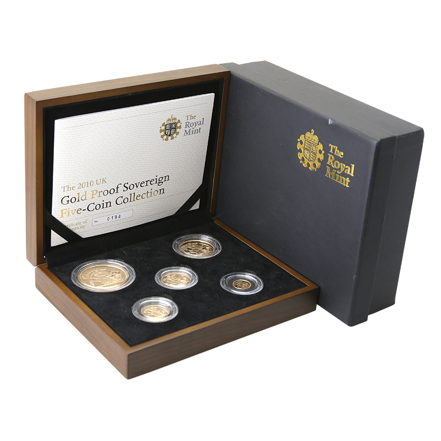 Pre-Owned UK 2010 Gold Proof 5-Coin Sovereign Set