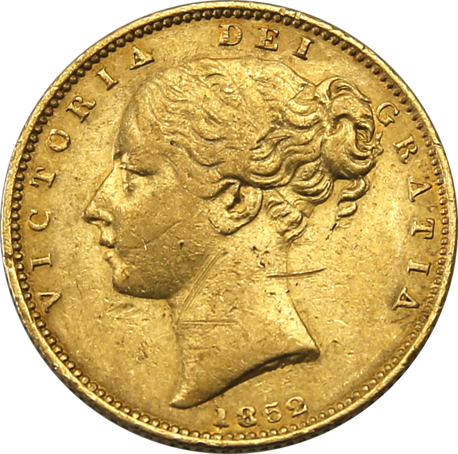 Pre-Owned: 1852 London Mint Victorian 'Shield' Full Sovereign Gold Coin