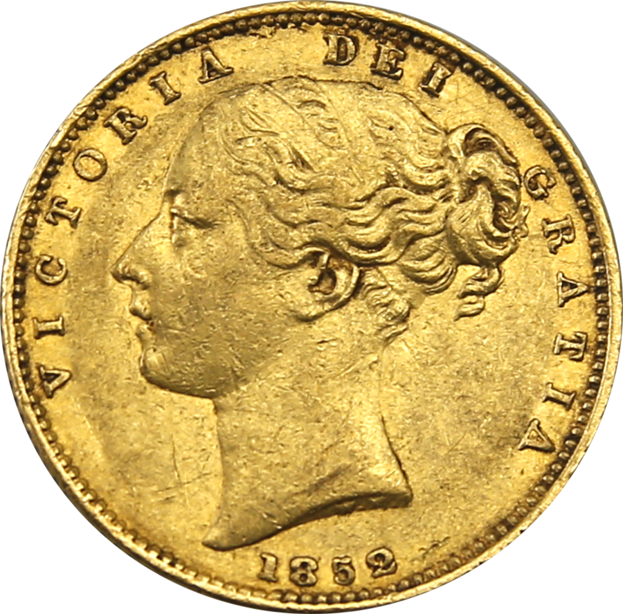 Pre-Owned 1852 London Mint Victorian Shield Full Sovereign Gold Coin