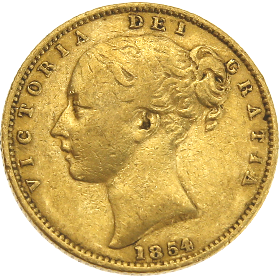 Pre-Owned 1854 London Mint 'Shield' Victoria Full Sovereign Gold Coin