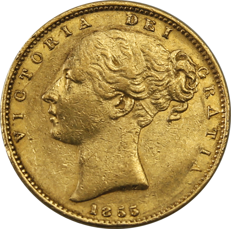 Pre-Owned 1855 London Mint Victorian Shield Full Sovereign Gold Coin
