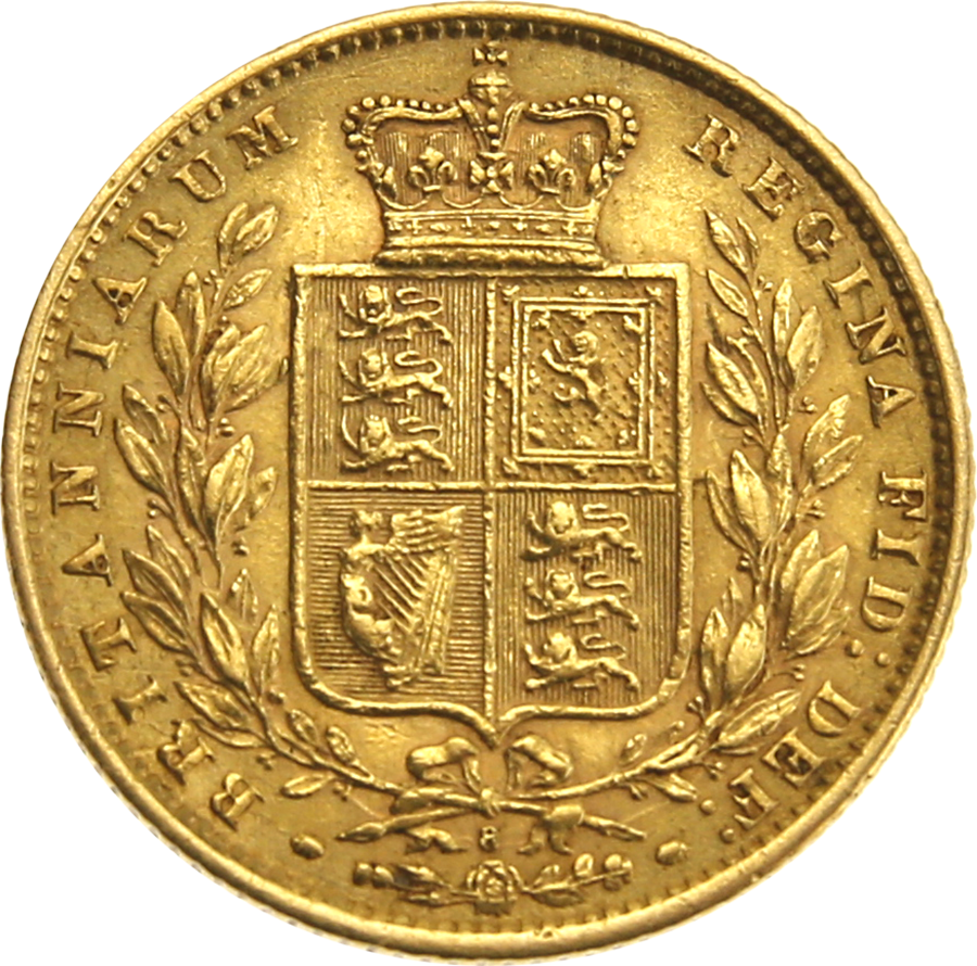 Pre-Owned 1873 London Mint DN.8 Victorian 'Shield' Full Sovereign Gold Coin (Image 2)
