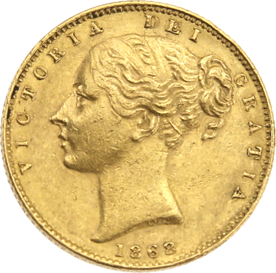 Pre-Owned 1868 London Mint DN.22 Victoria Young Head 'Shield' Full Sovereign Gold Coin