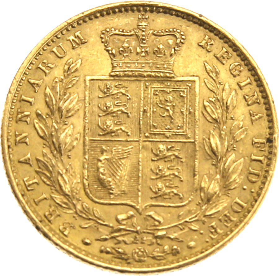 Pre-Owned 1868 London Mint DN.22 Victoria Young Head 'Shield' Full Sovereign Gold Coin (Image 2)