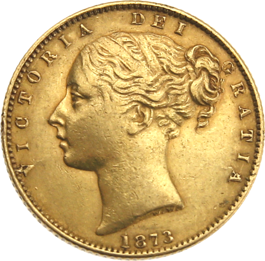 Pre-Owned 1873 London Mint DN.1 Victorian 'Shield' Full Sovereign Gold Coin
