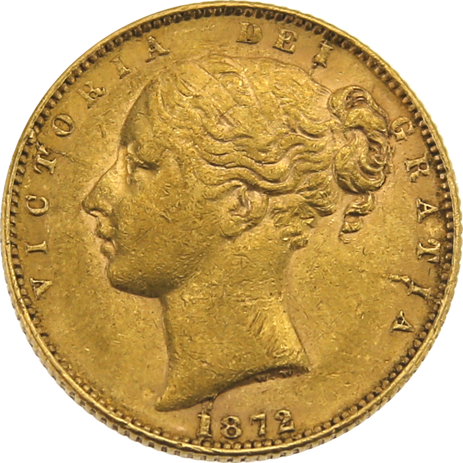 "Pre-Owned 1872 London Mint DN.1 Victoria Young Head ""Shield"" Full Sovereign Gold Coin"