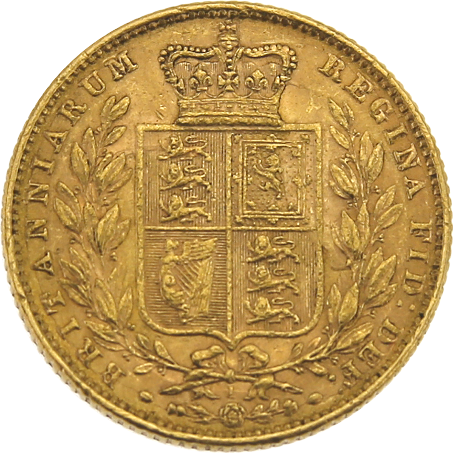 """Pre-Owned 1872 London Mint DN.1 Victoria Young Head """"Shield"""" Full Sovereign Gold Coin (Image 2)"""