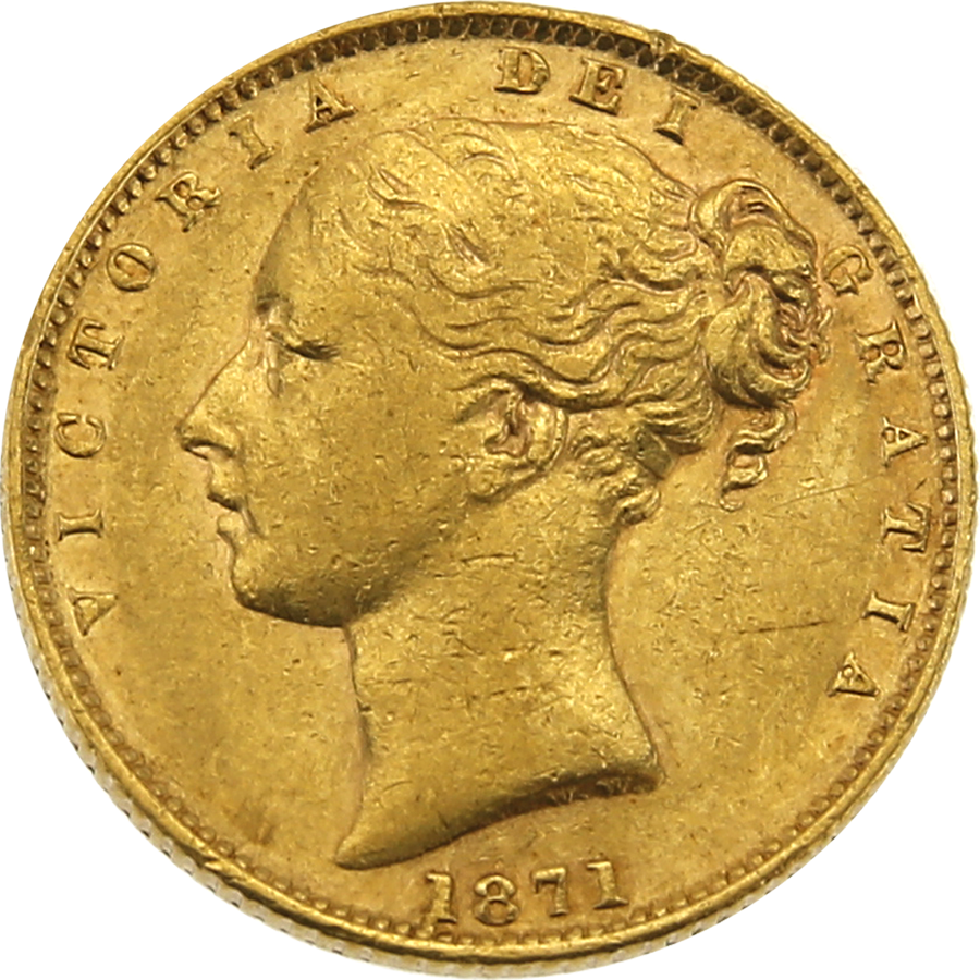 Pre-Owned - 1871 London Mint DN.12 Victoria Young Head 'Shield' Full Sovereign Gold Coin