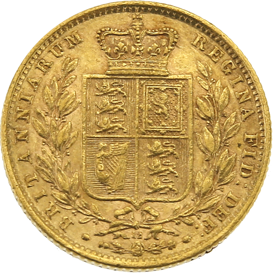 Pre-Owned - 1871 London Mint DN.12 Victoria Young Head 'Shield' Full Sovereign Gold Coin (Image 2)