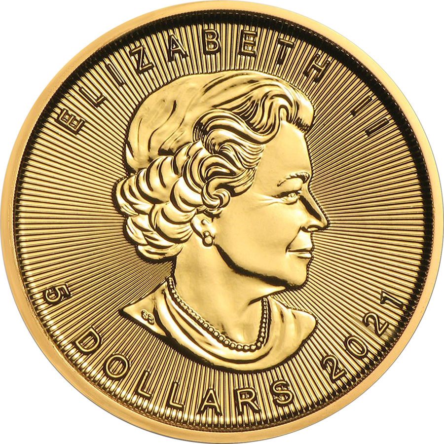 2021 Canadian Maple 1/10oz Gold Coin (Image 2)