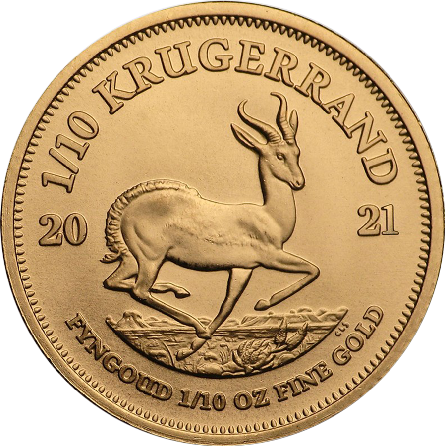 2021 South African Krugerrand 1/10oz Gold Coin