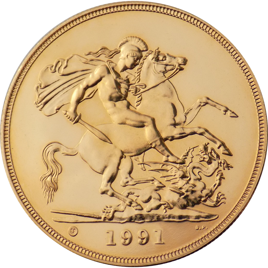 Pre-Owned 1991 UK Quintuple Sovereign Proof Design Gold Coin