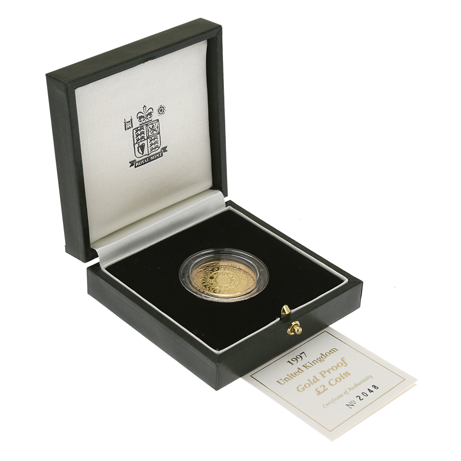 Pre-Owned 1997 UK £2 Double Sovereign Proof Gold Coin