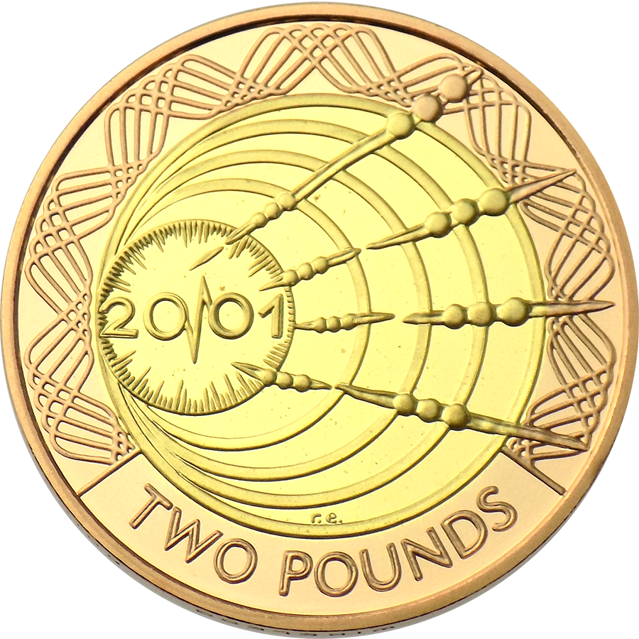 Pre-Owned 2001 UK Wireless Bridges the Atlantic Marconi £2 Gold Proof Design Coin