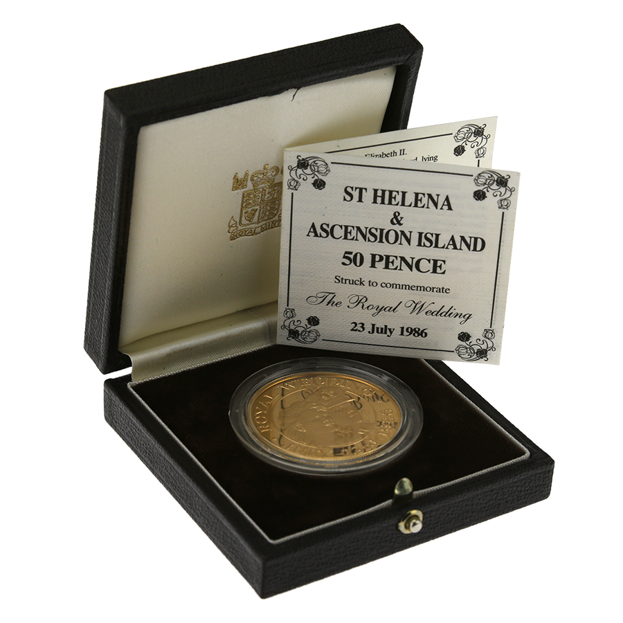 Pre-Owned 1986 St Helena & Ascension Royal Wedding Gold Proof 50p Coin