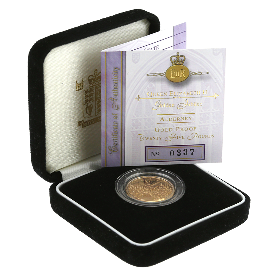 Pre-Owned 2002 Alderney Golden Jubilee Gold Proof £25 Coin