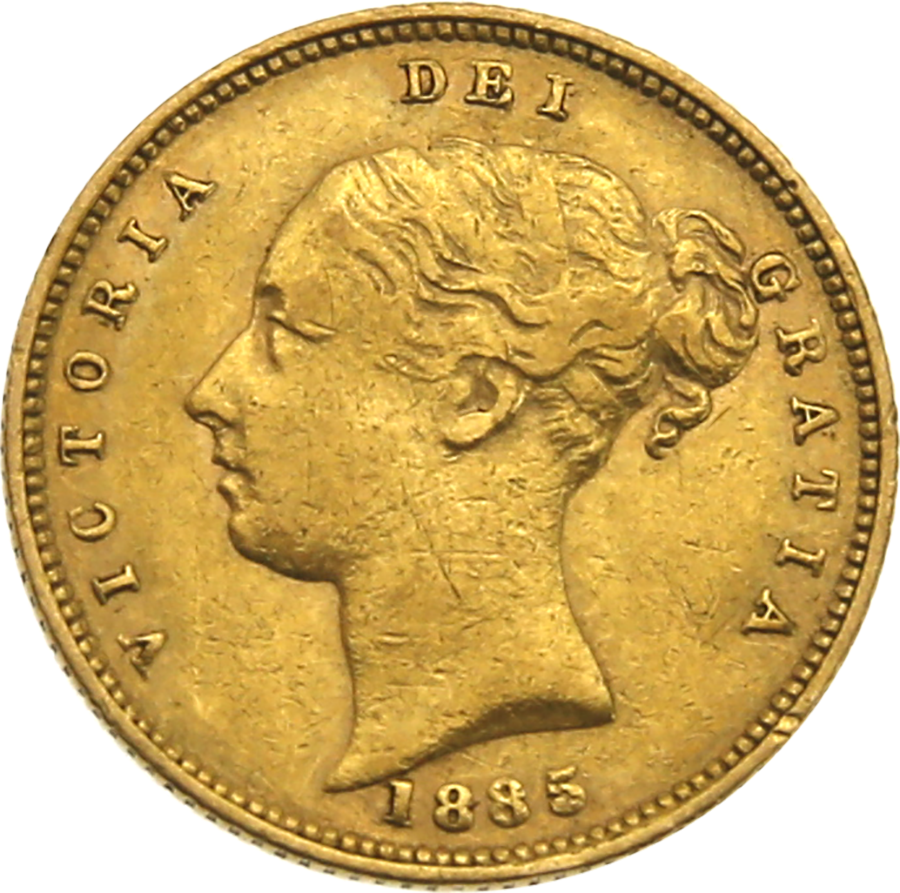 Pre-Owned - 1885 London Mint Victorian 'Shield' Half Sovereign Gold Coin