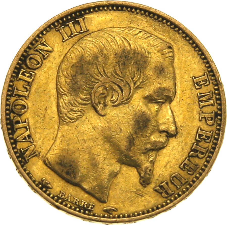 Pre-Owned 1853 French Napoleon III Wreath 20 Franc Gold Coin